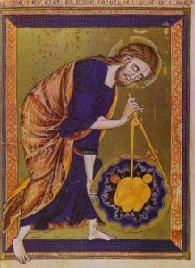 Dio come Architetto del Mondo nella miniatura della Bible moralisée, 1250 ca.