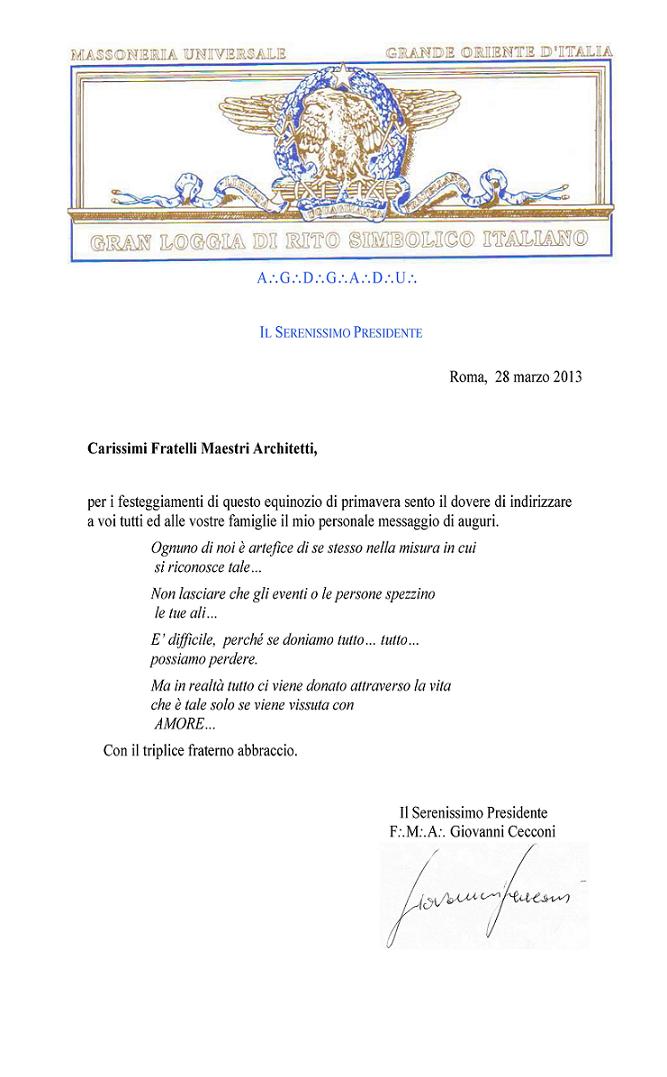 Lettera augurale equinozio primavera del Serenissimo Presidente