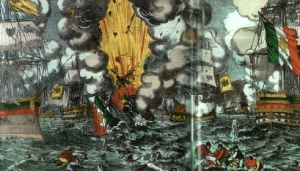 La battaglia di Lissa in una stampa dell'epoca conservata al Museo del Risorgimento di Milano