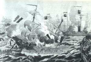 """Esplosione della """"Palestro"""" in una stampa dell'Archivio Rizzoli"""