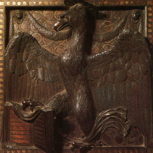 Donatello, pannello bronzeo con l'aquila simbolo di san Giovanni Evangelista, altare della Basilica del Santo, Padova