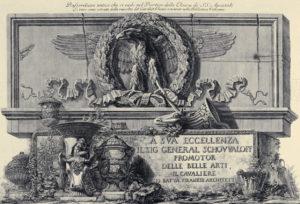 Giovanni Battista Piranesi, Bassorilievo antico che si vede nel Portico della Chiesa de' SS. Apostoli Li vasi sono estratti dalla raccolta del Cavalier Ghezzi esistente nella Biblioteca Vaticana, seconda metà del XVII sec.