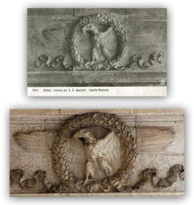 La medesima aquila imperiale romana in un paio di vecchie foto.