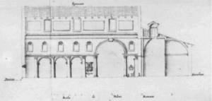 Francesco Fontana: sezione della basilica prima della demolizione del 1702 (notare le edicole rettangolari al di sopra delle volte)