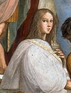 Raffaello Sanzio, particolare de La scuola di Atene (1508-1511), affresco, Stanza della Segnatura, Musei Vaticani. Il personaggio è improbabilmente identificato con Ipazia.