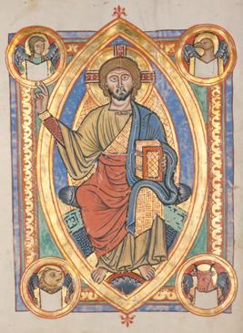 """""""Cristo"""" circondato da una mandorla e inquadrato dal tetramorfo"""