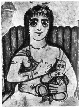 Iside allatta Horus (fregio copto del III secolo)