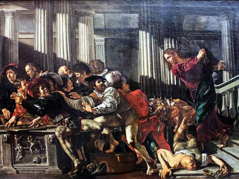 Gesù--mercanti-dal-tempio,-Caravaggio-1610