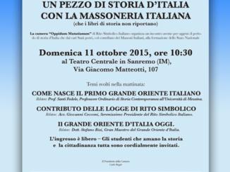 """11 Ottobre 2015 in Sanremo (IM)  """"Un Pezzo di Storia d'Italia con la Massoneria Italiana (che i libri di storia non riportano)"""""""
