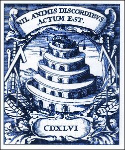 """La torre di Babele """"Nulla è fatto con la discordia"""", 1702"""