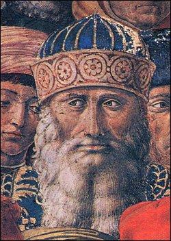 """Benozzo Gozzoli, presunto ritratto di Giorgio Gemisto Pletone, Particolare de """"Il Corteo dei Magi"""", 1459, Palazzo Medici-Riccardi, Firenze"""