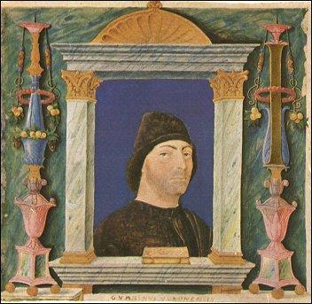 Guarino da Verona, ritratto su pergamena, XV sec., Biblioteca Trivulziana, Milano
